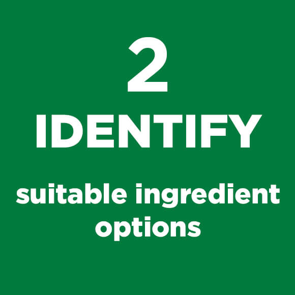 Green Square with Identify Most Suitable Ingredients Text