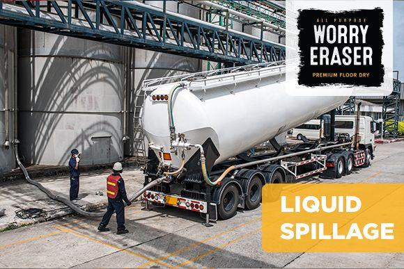 Trailer disptaching liquid in industrial silos
