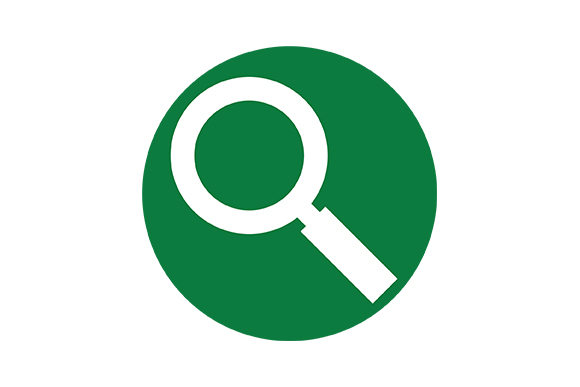 Green Background Icon of a Magnifying Glass