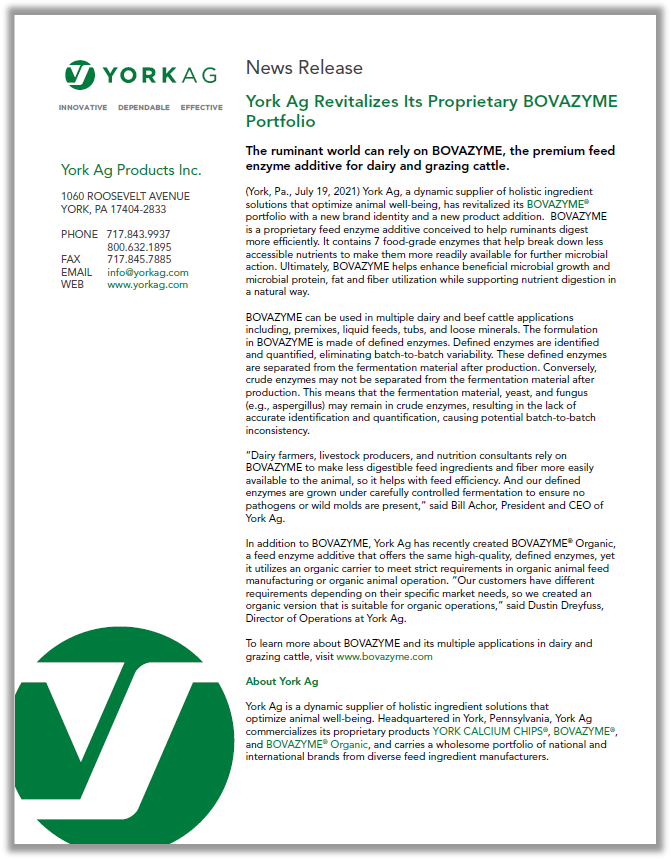 York Ag Revitalizes Its Proprietary BOVAZYME Portfolio PDF