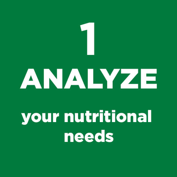 Green Square with Analyze your Nutritional Needs text