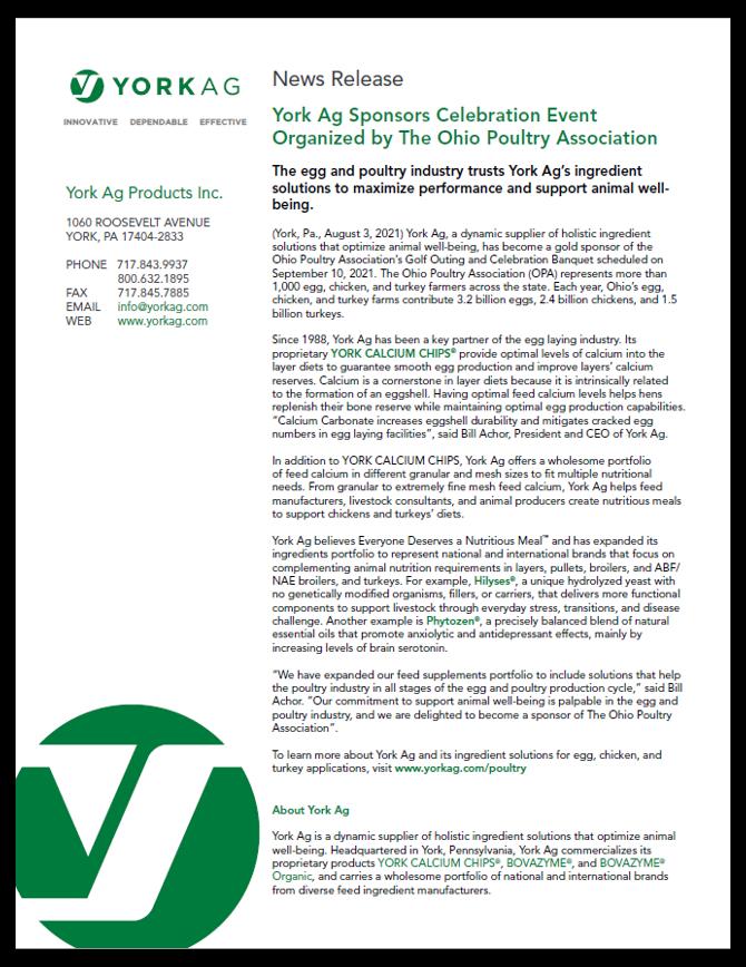 PDF version of York Ag Sponsors The Ohio Poultry Association