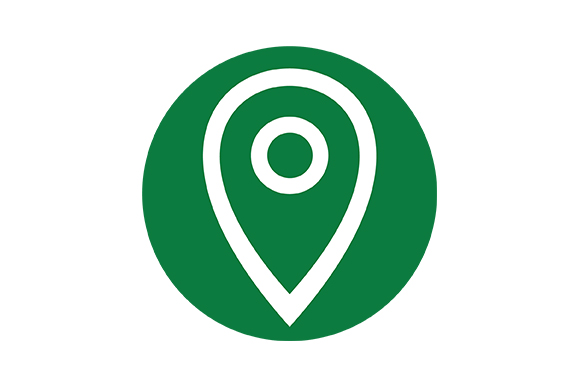 Green Background Icon of Location